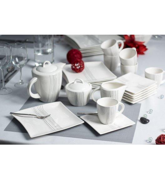 Serwis kawowy 6 os/15 el Duo SILVER LINE wyroby porcelanowe.