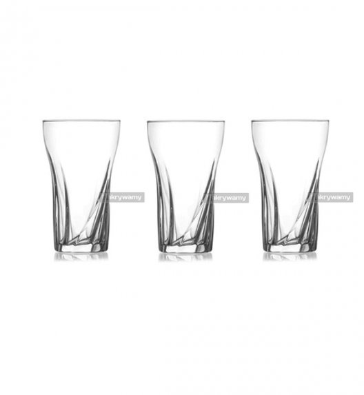 WYPRZEDAŻ! LAV MARIO komplet 3 wysokich szklanek long drink 375 ml 3 szt - nowoczesny design. / MAR3