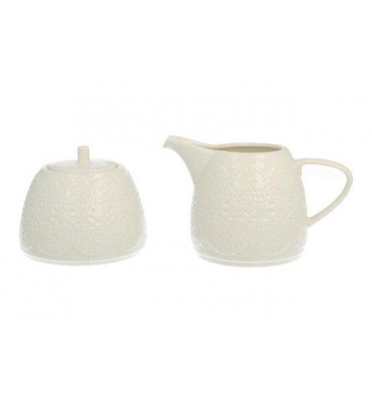 DUO KORONKA Zestaw cukiernica z mlecznikiem. Porcelana wysokiej jakości.