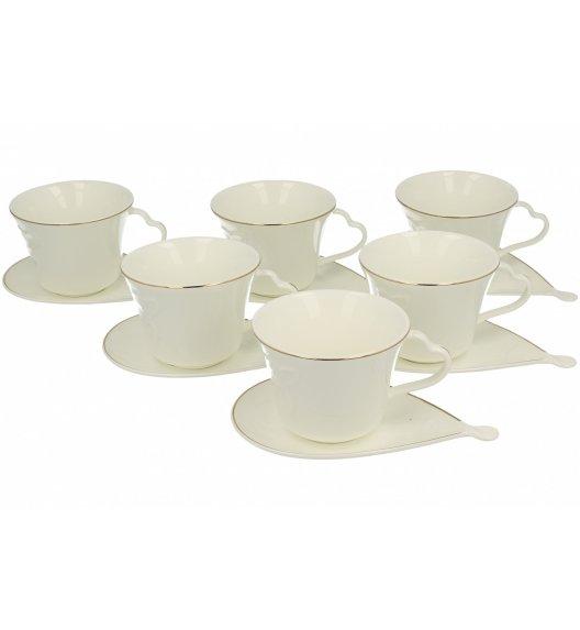 DUO TINOS Komplet 6 filiżanek 220 ml ze spodkami Porcelana wysokiej jakości