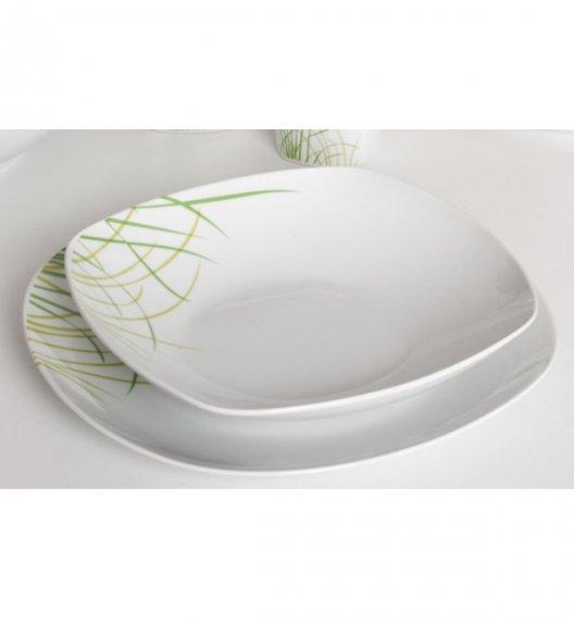 WYPRZEDAŻ! Tadar Trawa talerz obiadowy głęboki 1 szt - biała porcelana z motywem trawy