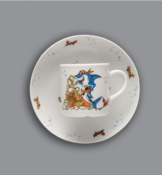 WYPRZEDAŻ! Zestaw porcelany dla dzieci Lubiana Rekiny porcelana 2 elementy.
