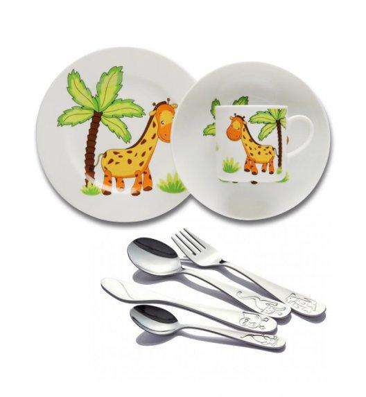 Komplet obiadowy dla dzieci porcelana Lubiana ŻYRAFA + sztućce Odiso (połysk) w kartoniku 7 elementów.