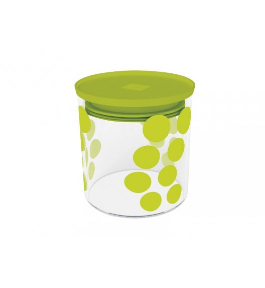ZAK! DESIGNS Szklany pojemnik z pokrywką, zielone kropki 0,65 L / Btrzy