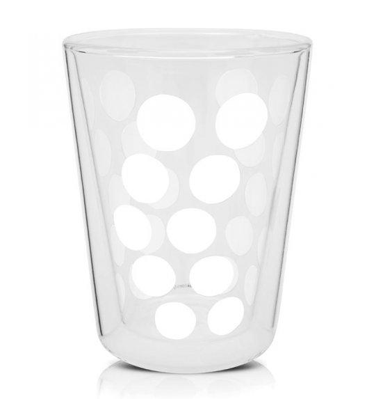 ZAK! DESIGNS Szklanka z podwójnymi ściankami, białe kropki, 350 ml / Btrzy