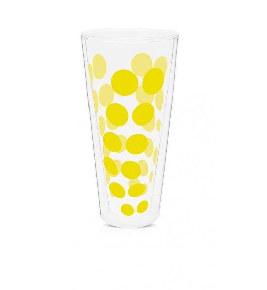 ZAK! DESIGNS Szklanka z podwójnymi ściankami, żółte kropki, wysoka, 350 ml / Btrzy