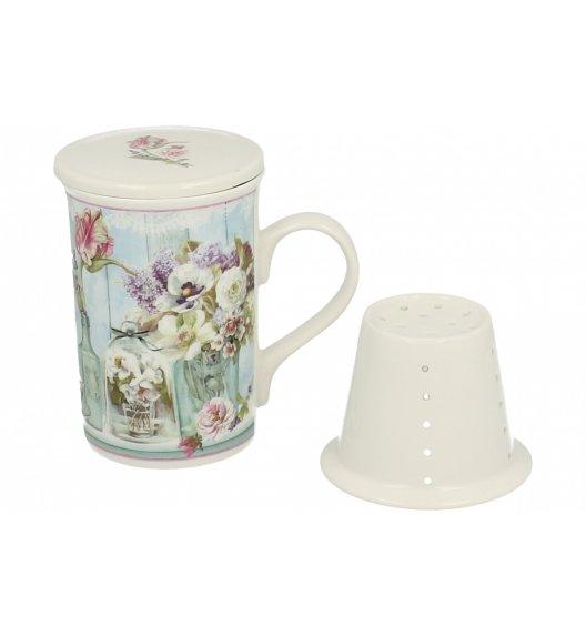 DUO SPRING Kubek porcelanowy z zaparzaczem i pokrywką - Pudełko ozdobne