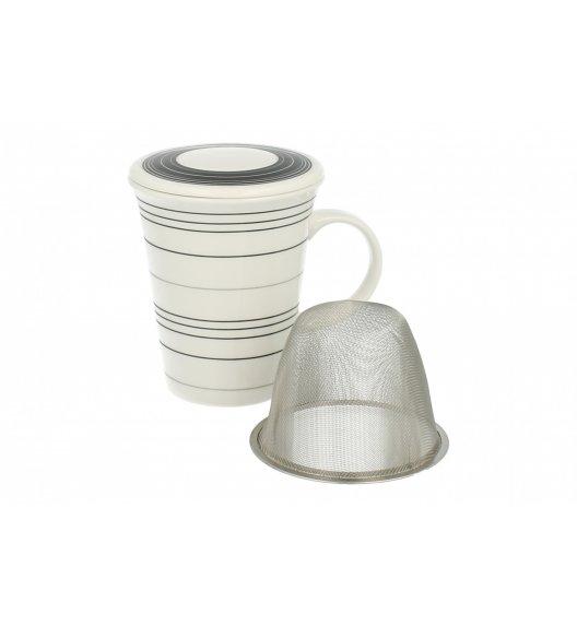 DUO Kubek z zaparzaczem i pokrywką C28 PASKI. Porcelana najwyższej jakosci