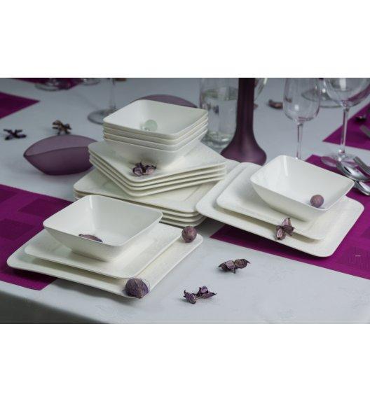 DUO ALFA Komplet obiadowy 40 elementów na 12 osób. Biała porcelana ze zdobieniem