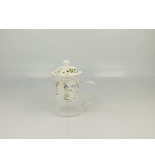 DUO ZIOŁA C Szklany kubek z porcelanowym filtrem i pokrywką