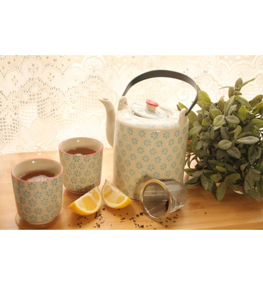 DUO TEA COLLECTION Komplet dzbanek z sitkiem + dwa kubki 180ml BLUE