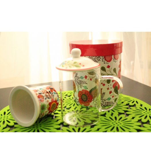DUO FLOWER Szklany kubek z porcelanowym zaparzaczem 450 ml