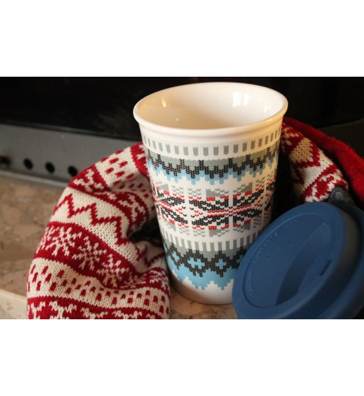 DUO VARIUS Kubek Sweterek z silikonową pokrywką niebieski 380 ml