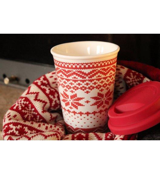 DUO VARIUS Kubek Sweterek z silikonową pokrywką czerwony 380 ml