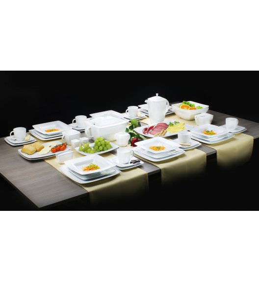Serwis obiadowy i serwis kawowy Lubiana Victoria Biała 12 osób 86 elementów TG