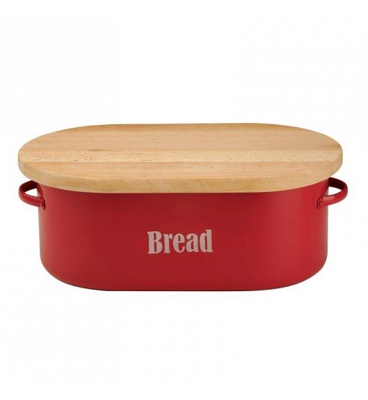 TYPHOON Stalowy chlebak z drewnianą deską do krojenia VINTAGE KITCHEN, czerwony / Btrzy