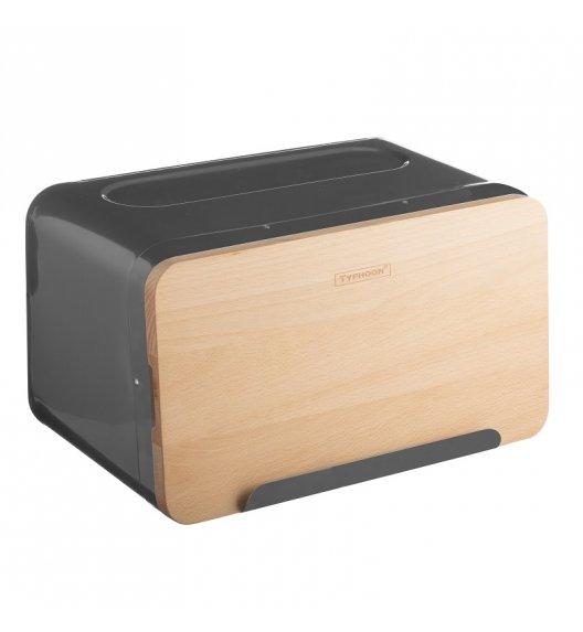 TYPHOON Stalowy chlebak z drewnianą deską do krojenia HUDSON, grafitowy / Btrzy
