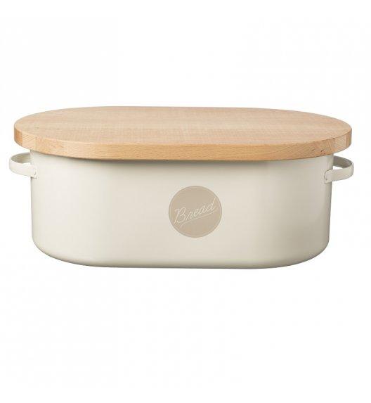 TYPHOON Stalowy chlebak z drewnianą deską do krojenia VINTAGE AMERICANA, biały / Btrzy