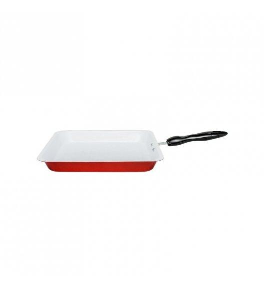 WYPRZEDAŻ! TADAR Patelnia grillowa ceramiczna kwadratowa / czerwona, 28 cm
