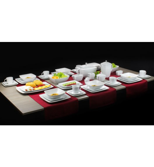 Serwis obiadowy i serwis kawowy Lubiana Victoria Biała HIT 12 osób 118 elementów SM