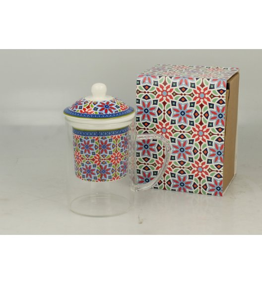 DUO AGADIR Szklany kubek z porcelanowym zaparzaczem 450 ml