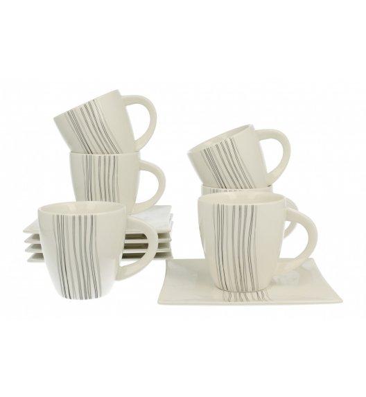 DUO SILVER LINE Komplet 6 filiżanek 170 ml ze spodkami / porcelana