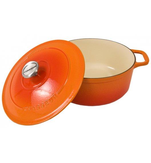 CHASSEUR Garnek żeliwny emaliowany SUBLIME owalny ø 33 cm, 7,1 l czerwona pomarańcza, 4733-07