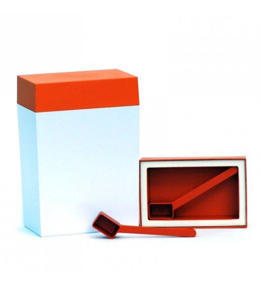 O'LaLa Pojemnik prostokątny z miarką do przechowywania żywności / 3,0 L / biało-pomarańczowy  / FreeForm