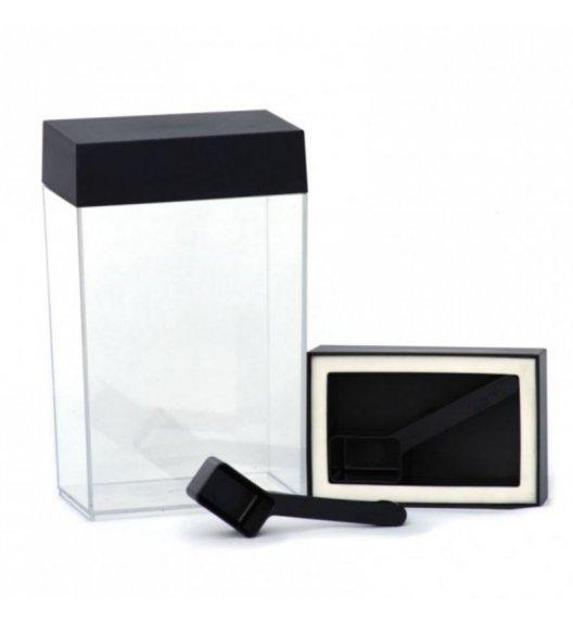 O'LaLa Przeźroczysty pojemnik prostokątny z miarką do przechowywania żywności / 1,25 L / czarny  / FreeForm