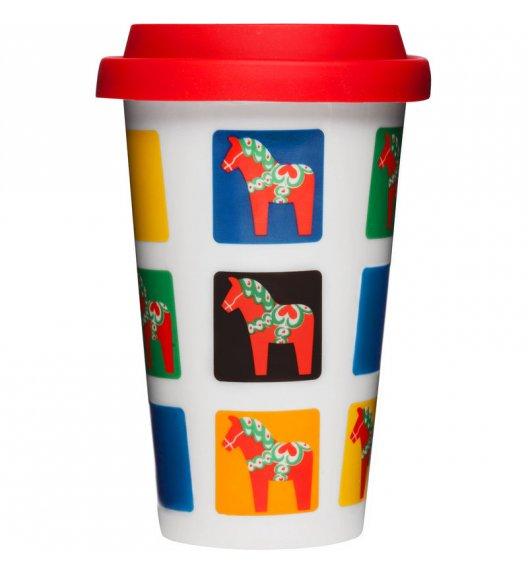 SAGAFORM Porcelanowy kubek na kawę z pokrywką CAFE 0,25 l, konie / FreeForm