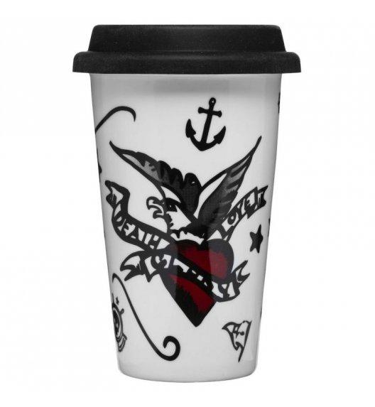 SAGAFORM Porcelanowy kubek na kawę z pokrywką CAFE 0,25 l, tatuaże / FreeForm