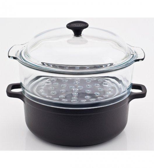 Garnek żeliwny emaliowany z naczyniem do gotowania na parze Chasseur Classic 7,5l, czarny 3024-01