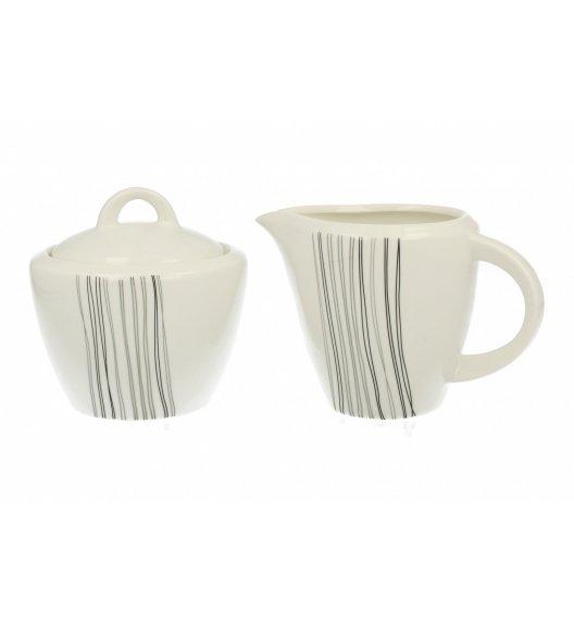 Komplet cukiernica+mlecznik Duo SILVER LINE wyroby porcelanowe.