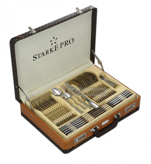 Sztućce Starke Artisto Tenso 84 elementy / 12 osób walizka skórzana.  Niemiecka jakość.
