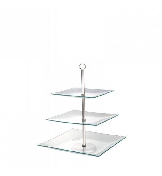 TADAR VERONIKA patera szklana na tort / ciasto / muffiny kwadratowa 3-poziomowa 20/25/29 cm.
