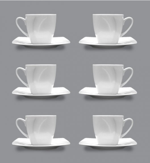 LUBIANA CELEBRATION Komplet 6 Filiżanek 200 ml + spodki / 12 el / 6 os / porcelana