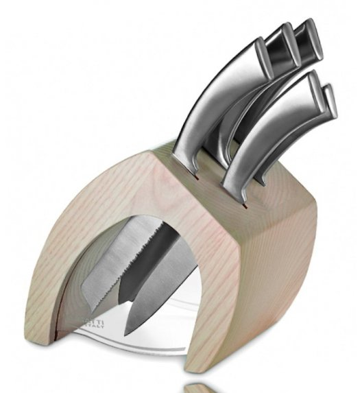 BUGATTI TRATTORIA Blok noży jasne drewno + 5 noży Ergo JASNY BLOK - Italy design