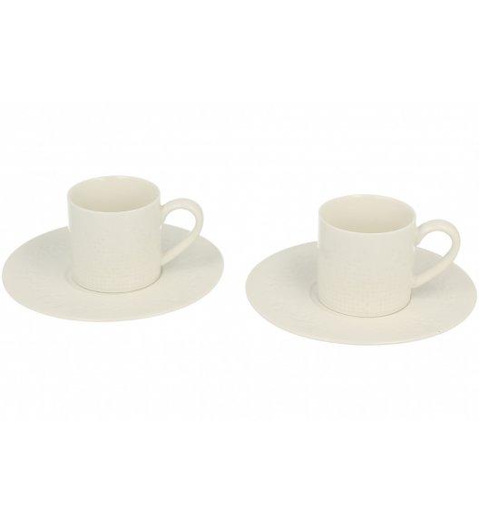 DUO MOZAIKA Komplet 2 filiżanki + spodki 100 ml / porcelana z ozdobnym tłoczeniem