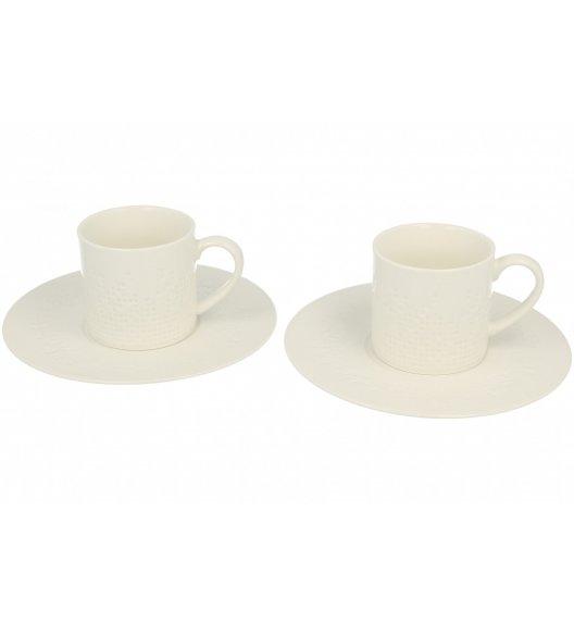 DUO MOZAIKA Komplet 2 filiżanki + spodki 200 ml / porcelana z ozdobnym tłoczeniem