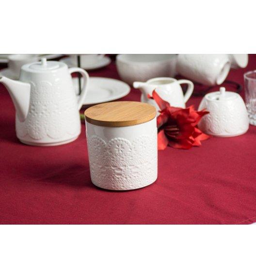 DUO KORONKA Pojemnik z drewnianą pokrywką / porcelana