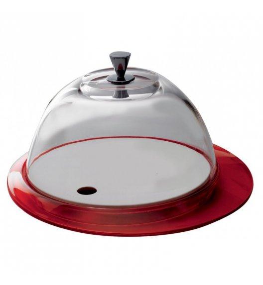 BUGATTI GLAMOUR Patera na ciasto 30 cm ze szklaną pokrywą CZERWONY