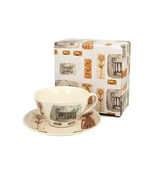 DUO KOTY Filiżanka ze spodkiem 325 ml / porcelana