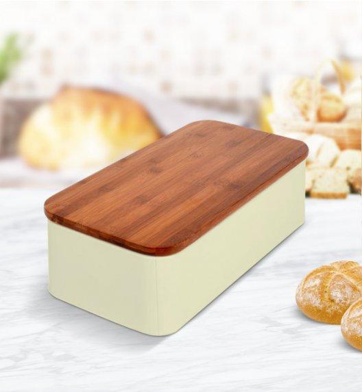 ODELO Kremowy chlebak z deską do krojenia, emaliowany 12 x 42 cm / Stal nierdzewna / OD1194Y