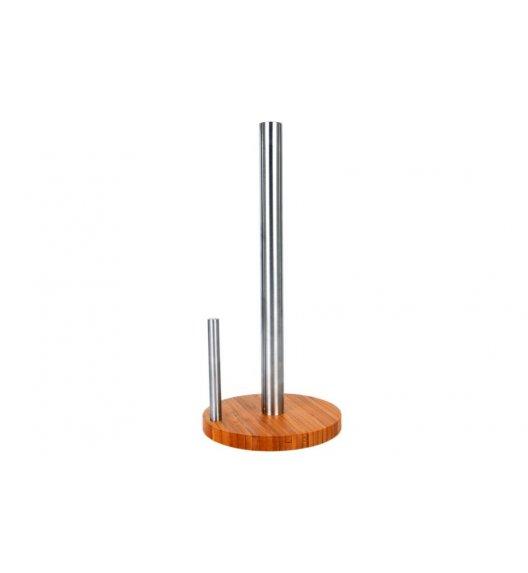 ODELO Stalowy stojak na papier kuchenny z bambusową podstawą / stojak z klipsem metalowym OD1313