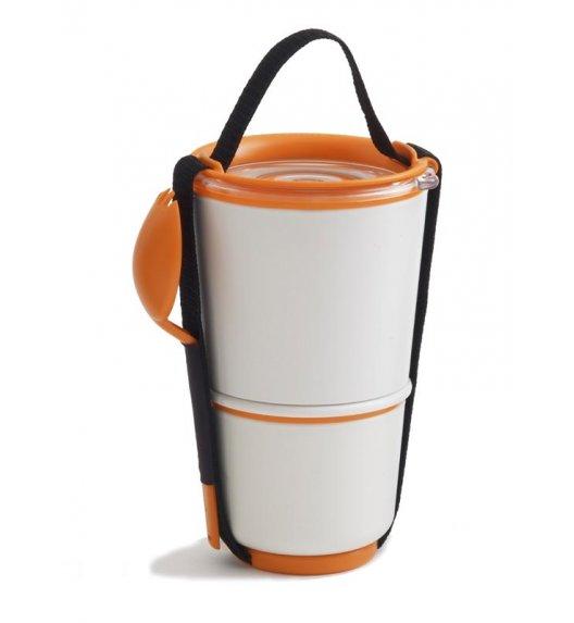 BLACK+BLUM LUNCH POT Pojemnik na lunch, biało/pomarańczowy. Btrzy
