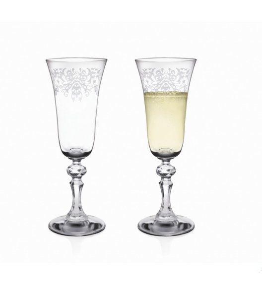 WYPRZEDAŻ! KROSNO Prestige Krista Deco Komplet 10 kieliszków do szampana / zdobione