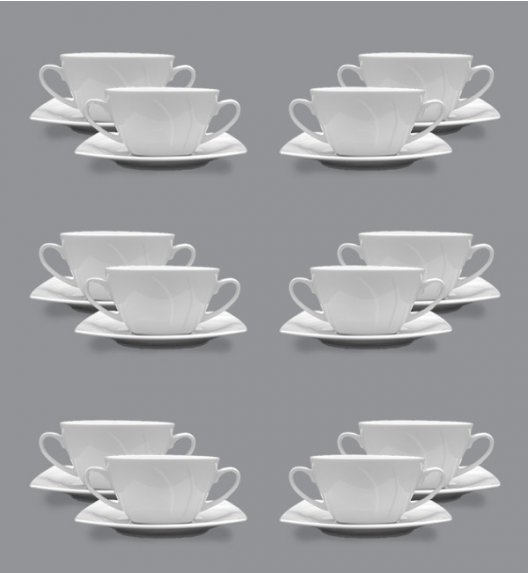 LUBIANA CELEBRATION Komplet 12 Bulionówek 300 ml + spodki 16,5 cm / 24 el / 12 os / porcelana