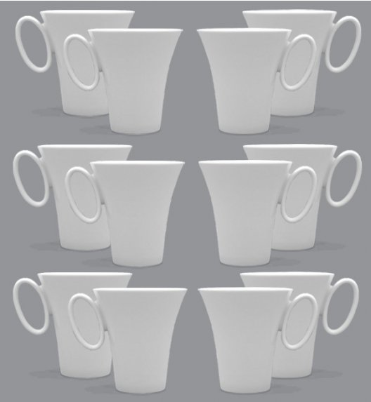 LUBIANA WING Komplet Kubki 300 ml / 12 el / 12 os / porcelana