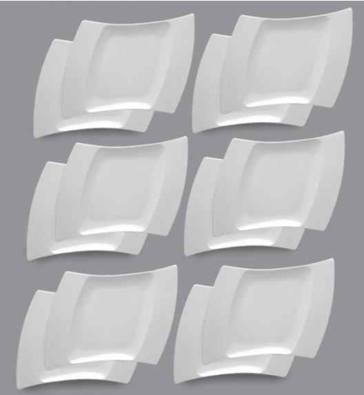 LUBIANA WING Komplet Talerze deserowe 25 cm / 12 el / 12 os / porcelana