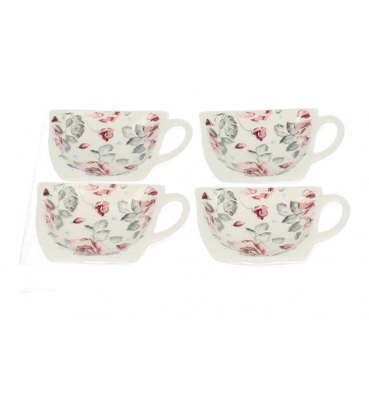 DUO RÓŻYCZKA Komplet 4 podkładek na herbatę / Porcelana